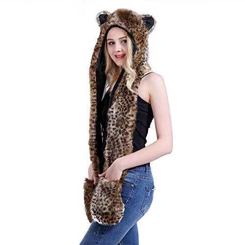 IBLUELOVER Halloween handschoenen Unisex muts sjaal 3 in 1 kunstbont winter pet pluche diermuts met oorbeschermer luipaardhoed paw dierhandschoenen Cosplay carnaval party kostuum