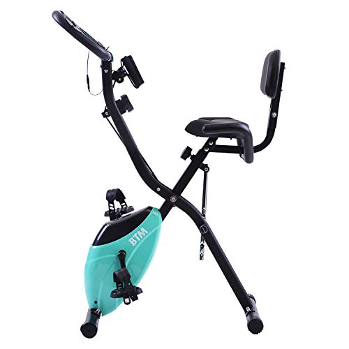 BTM G500 Folding Cycling Exercise Bike Indoor Fitness Training X Bike Lightweight for Home Cardio Workout, with Flywheel and Arm Resistance Bands (Aqua Flywheel)