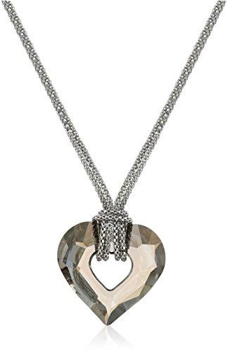 Sterling Silver Italian Rhodium Plated Smokey Swarovski Crystal Heart Necklace, 17.5
