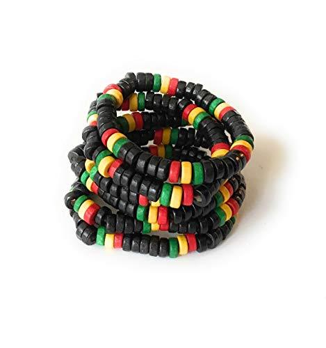 Wigwam Juego de 6 pulseras de madera Rasta Bob Marley