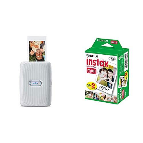 instax 16640682 Link smartphone printer, Ash White & FujiFilm Instax Mini Film (40Shots) Multi Pack