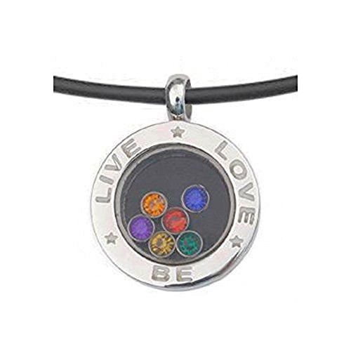 Live Love Be - Rainbow Circular Glass Pendant - Gay & Lesbian LGBT Pride Necklace. LGBT Pride - Gay and Lesbian Pendant. One Necklace & Chain for men or women. Rainbow Pride Jewelry