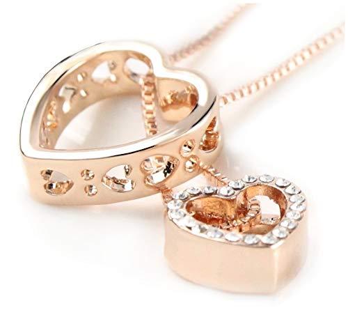 Quadiva G! - Collar para mujer con colgante de corazón, color: oro rosa, decorado con cristales brillantes de Swarovski®