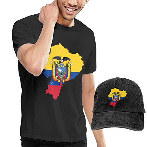Baostic Camisetas y Tops Hombre Polos y Camisas, Flag Map of Ecuador Fashion Men's T-Shirt and Hats Youth & Adult T-Shirts