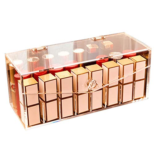 LIYANSBH - Uhrenbox Acryl Lippenstift Veranstalter mit staubdichtem Deckel Lipgloss 24 Plätze...