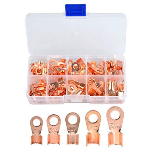 QLOUNI 70 Stück Ring Kabelschuh Set Ring-Terminals aus Kupfer Nicht isolierte Terminal Steckverbinder Sortiment OT 10 A 20 A 30 A 40 A 50 A