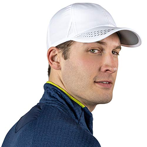 TrailHeads Men's Running Hat with UV Protection   Quick Dry Sports Hats for Men   Outdoor Cap   UPF 50 Hats   Summer Hats for Men - White/Reflective