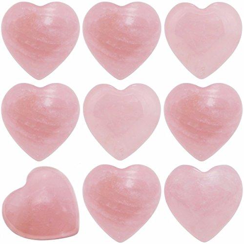 SUNYIK Natural Rose Quartz Pocket Mini Puff Heart Worry Healing Palm Stone Pack of 10(0.5')