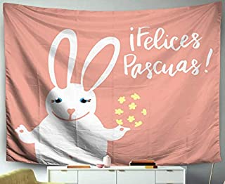 Easter Quote Vector Hanging Wall Tapestry,Musesh 60x50 Tapestry,Felices Pascuas Happy Easter Card Template With Cute Bunny Holding A Decorated E,Tapestry Wall Hanging for Bedroom Living Room Decor Inh