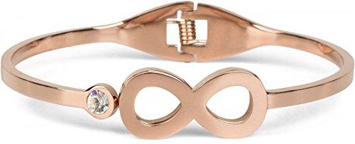 styleBREAKER Infinity Armreif aus Edelstahl mit Strass, Klappverschluss Armband, Schmuck, Damen 05040105, Farbe:Rosegold