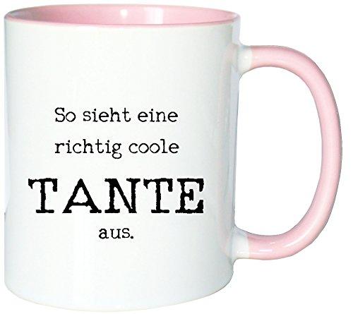 Mister Merchandise Kaffeetasse Becher So Sieht eine richtig Coole Tante aus Aunt, Farbe: Weiß-Rosa