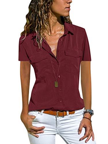 Minetom Damen Basic Blusen Taillierte Kurzarm Damenbluse V-Ausschnitt Shirt Hemd Casual Bluse Einfarbig Oberteil Hemdbluse Shirtbluse Ärmellose Tank Top Weste B Rot 44