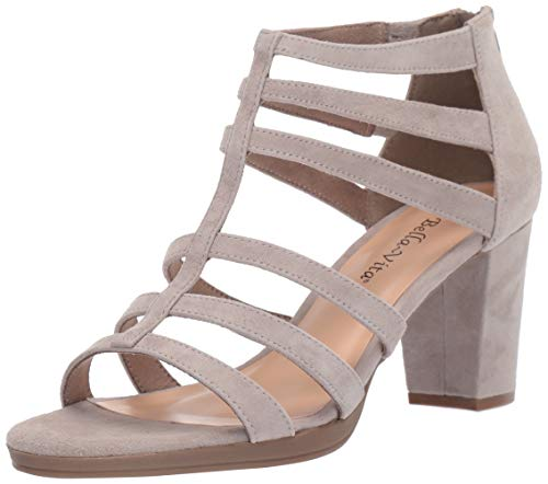 Bella Vita Women's Leah Sandal with Back Zipper Shoe, Stone Kidsuede Leather, 10 2W US