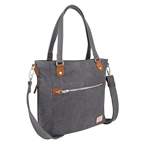 Roomy compartment with zippered RFID blocking pocket, 2 open top wall pockets and a tethered key clip with LED light Easy access, locking front zippered pocket Two hidden zippered side pockets.  Strap drop length 12.5, 16 inch – 28 inch Rear zippered...