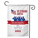 Happy Veterans Day 12.5X18 inches Garden Flags Stars And Stripes Soldier Salute Silhouette Honoring All Who Served House Flags Festival Atmosphere Outside Decoration Banners Garden Terrace