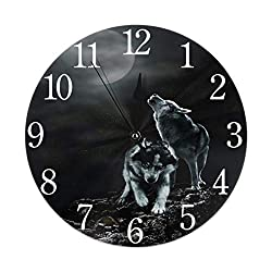 KiuLoam Halloween Moon Night Wolf Round Wall Clock Silent Non Ticking Battery Operated Easy to Read for Student Office School Home Decorative Clock Art