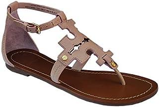 Tory Burch Phoebe Elba Thong Sandal TB Logo Flat Leather Beige