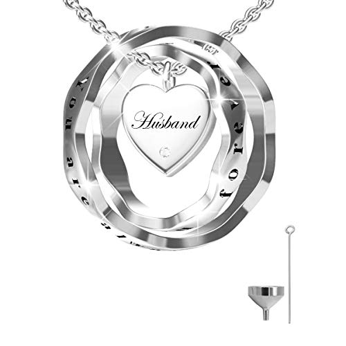 oGoodsunj S925 Sterling Silver Cremation Jewelry Urn Pendant Necklace Ashes Keepsake Necklaces for Women - You are Always in My Heart I Love You Forever (Husband)