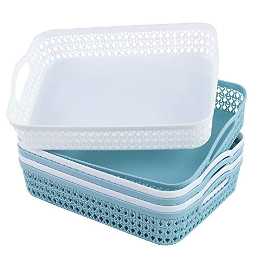 Readsky 6-Pack Flat Plastic Storage Baskets with Handles Office Supply Organizer, White and Mint Green