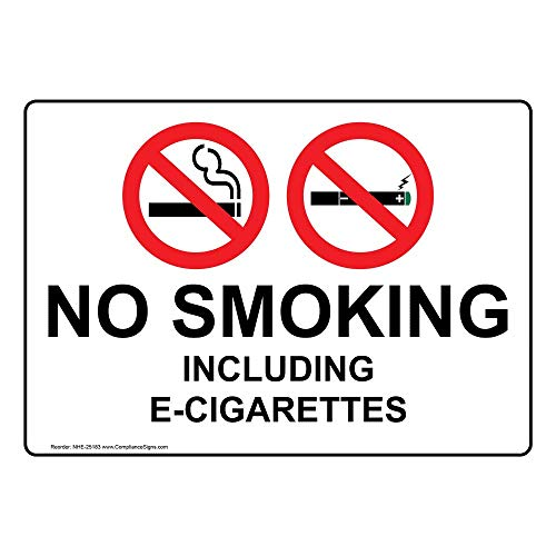 No Smoking Including E-Cigarettes Label Decal, 7x5 in. Vinyl for No Smoking by ComplianceSigns