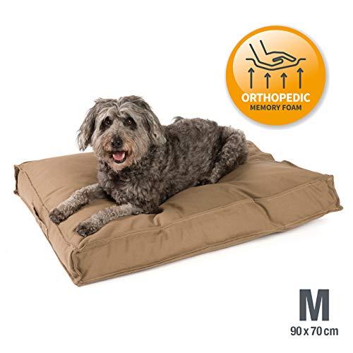 JAMAXX Premium Hundekissen - Orthopädisch Memory Schaumstoff-Flocken, Waschbar Abnehmbarer Bezug Wasserabweisend - Hundebett mit Canvas Stoffbezug PDB1007 (M) 90x70 Coffee-braun