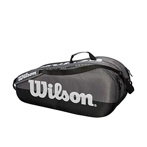 Wilson Bolsa para raquetas de tenis, Team, 2 compartimentos, Hasta 6 raquetas, Gris/negro/blanco, WRZ854909