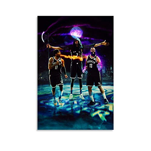 James Harden, Kevin Durant and Kyrie Irving Poster Basketball Picture 2 Canvas Wall Decor Art Painting Print for Offices Bedrooms Dorms Homes - Gift for Boyfriend Man 16x24inch(40x60cm)