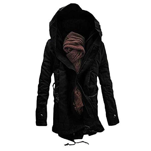 U/A Men's Long Warm Jacket Men's Hooded Garment Cotton Coat Black