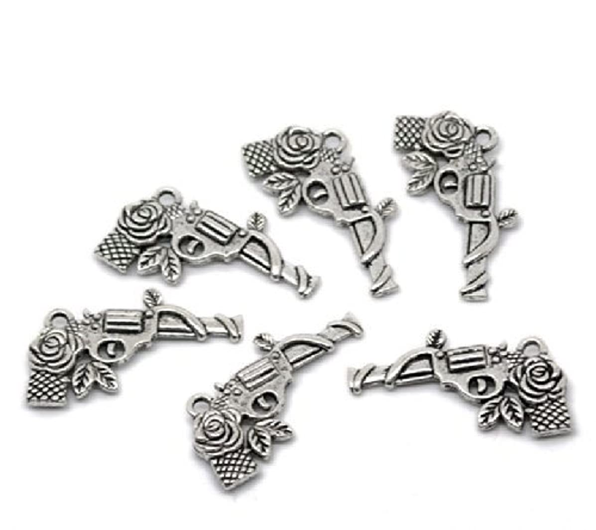 PEPPERLONELY 20pc Antiqued Silver Gun and Rose Revolver Pistol Charm & Pendant Tibetan Sty.