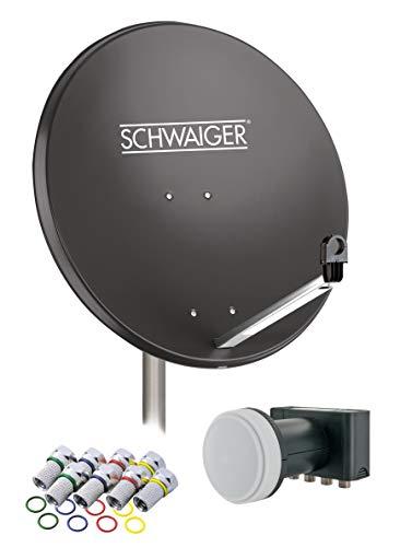 SCHWAIGER -517- Sat Anlage, Satellitenschüssel mit Quad LNB (digital) & 8 F-Steckern 7 mm, Sat Antenne aus Stahl, Anthrazit, 75 x 85 cm