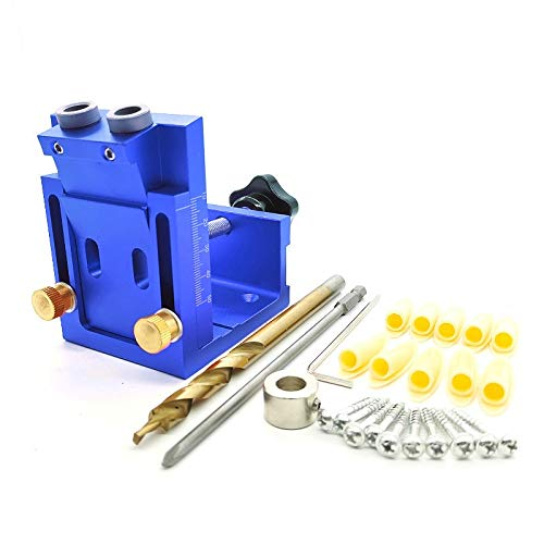 ZT-TTHG 9.0mm Drill Guide Dowel Jig Set Woodworking Joinery Master W/Drill Sleeve for Carpentry Drilling Pocket Hole Tool (Color : Set B)