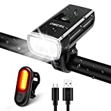 OMERIL Rechargeable Bike Light Set, 1200 Lumens Super Bright Front Headlight and Rear LED Road Cycling Safety Flashlight, Easy to Install Mount Bicycle Headlight and Taillight- Fits All Bikes