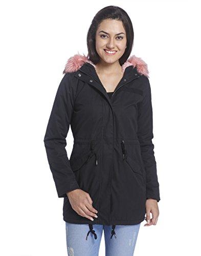 Only Damen Parka Winterjacke Kurzmantel (M, Black/Pink Fur)