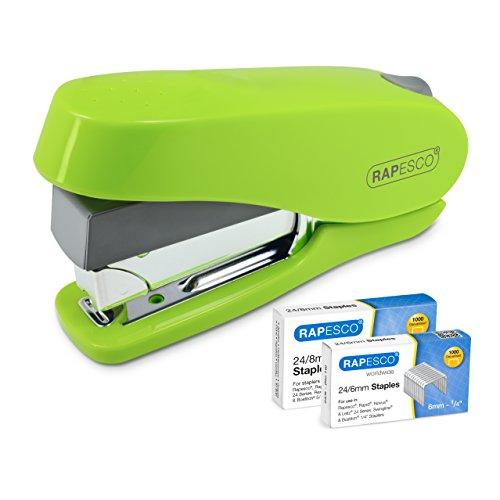 Rapesco NEW Luna - Grapadora de esfuerzo reducido, 50 hojas de capacidad y 2 cajas de grapas de 24/8mm y 24/6mm, verde