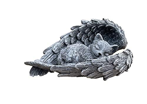 Stone and Style Grabschmuck Katze im Flügel frostfest Steinguss Steinfigur