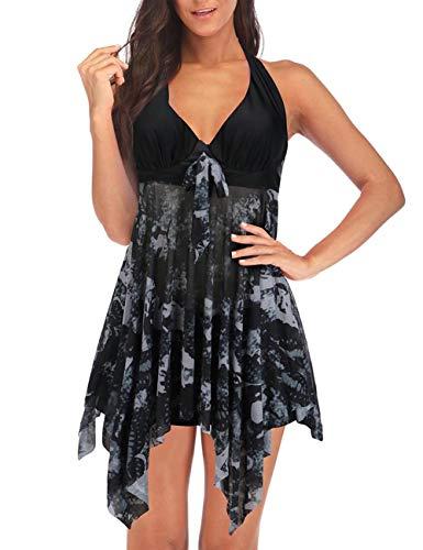 FeelinGirl Tankini Hálter de 2 Piezas - Mujeres Ropa de Baño Dobladillo Asimétrico Estampado Floral Bañador Sexy Elegante Talla Grande Negro 5XL:Talla 54