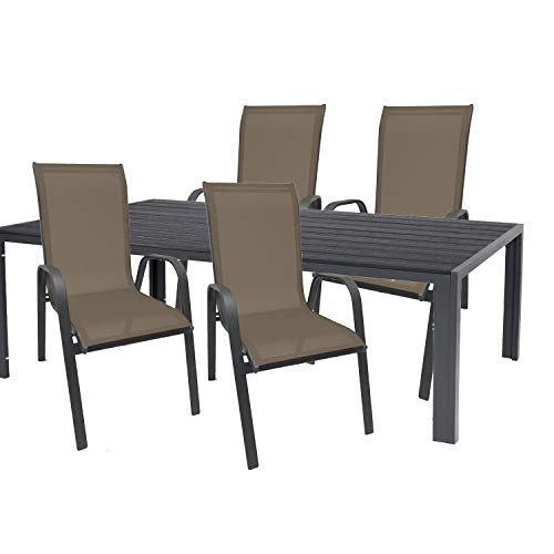 Mojawo High Quality Garden Set 5 Pieces Garden Table 180 x 90 cm Anthracite Polywood Grey + 4 Stackable Chairs Textile Anthracite / Chocolate Brown