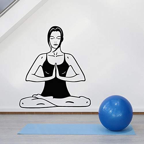 Calcomanía de pared de Yoga para niña, pose de equilibrio, cuerpo relajante, pegatinas de vinilo para ventana, sala de meditación, estudio de Yoga, gimnasio, decoración de interiores, papel tapiz