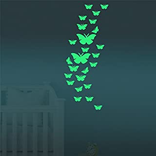 FLY SPRAY Creative Luminous Wall Decorative 24pcs Butterfly Stickers Glow in the Dark Light Decor Removable Decals Mural Wall Art Kids Bedroom