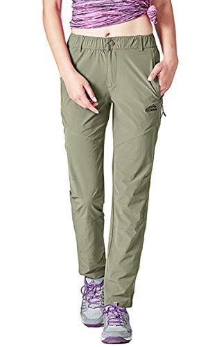 YSENTO Damen Outdoor-Wanderhose, schnelltrocknend, leicht, wasserabweisend, mit Reißverschlusstaschen XXL armee-grün