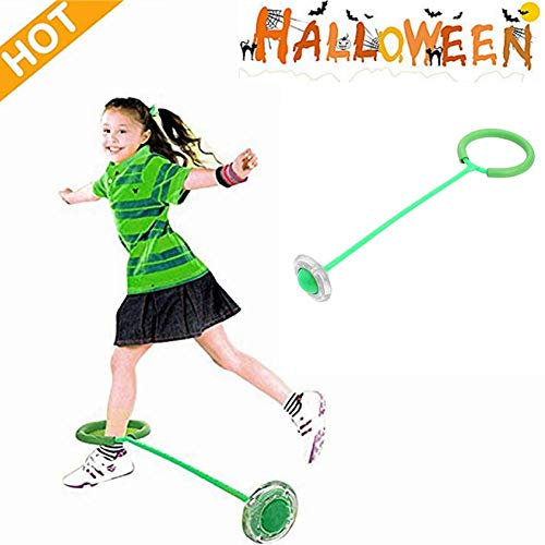 Myfreed Flashing Jumping Ring Children Colorful Ankle Skip Jump Ropes Sports Swing Ball for Kids Boys Girls Toy Birthday Childrens Day Gift (Green, 6515cm)