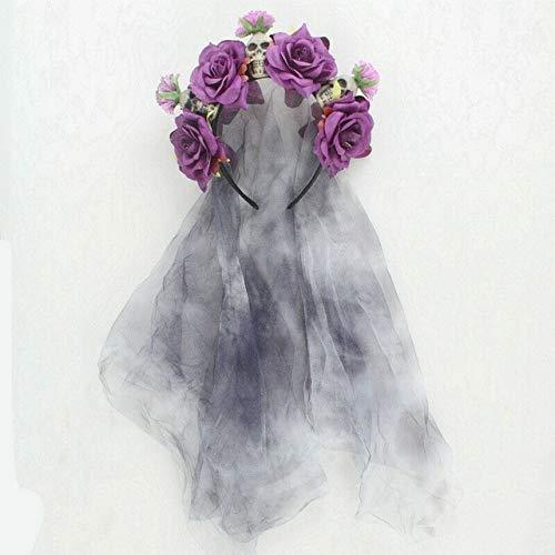 Da De Los Muertos Navidad Rose Velo Negro con Flores Seora del Vestido Boda De Halloween Muerto Novia Diadema Tocado De Vestuario (Color : Style 1C)