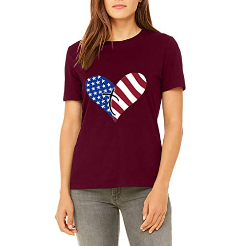 Best Prices! 4th of July Shirts for Women American Flag Heart Short Sleeve Tees Shirt Women July 4th...