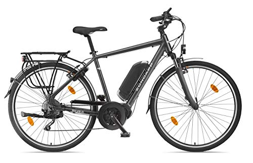 Zündapp E-Bike Herren Elektrofahrrad Alu, mit 10-Gang Shimano Hyperglide-Kettenschaltung, Pedelec Trekkingrad leicht, Bafang Mittelmotor 250 W und 10,4 Ah, 36 V Lithium-Ionen-Akku, Silver 5.5