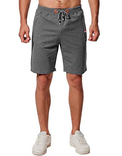 CHYU Herren Sport Joggen und Training Shorts Fitness Kurze Hose Jogging Hose Bermuda Reißverschlusstasch (XL, Dark Gray 1)