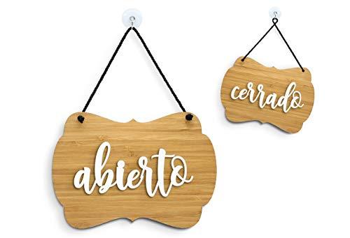 3DP Signs - Bambù Shabby Chic - Abierto Cerrado Cartel Doble Cara Signo OC09 - Placa de la Puerta Colgante de Doble Cara - Letrero de la Tienda Comercial Reversible