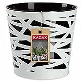 KADAX Macetero redondo de plástico, maceta para flores, plantas, balcón, para interiores, ligero, moderno (17 cm), color negro