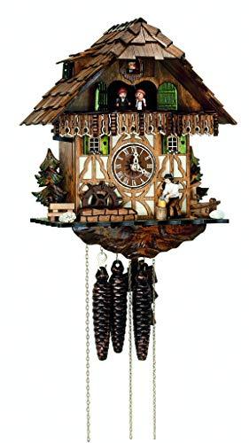Reloj De Cuco selva. Hierro BACHMANN clásico negro bosque de estilo, hecha a mano–Fabricado en Alemania–Caja de madera macizo., Fein adornado–Una auténtica Meister. (Altura: 32cm)–c336404