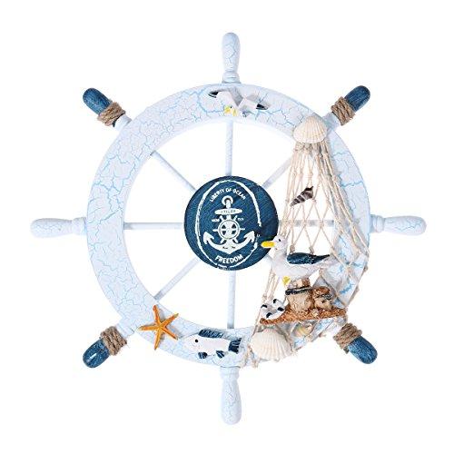 Healifty - Timone di Legno con Rete da Pesca, Stile Nautico, Decorazione da Parete per Barca, casa e Feste
