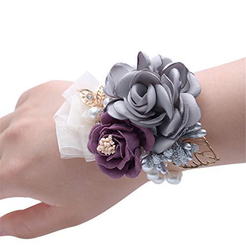 Juego con pulsera ramillete de rosas y de diamante con cinta flor bail